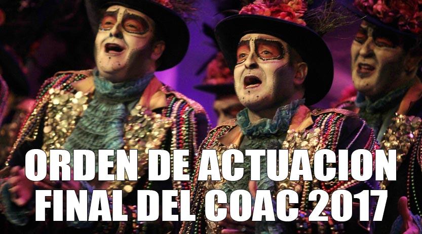 Orden de actuaci n final del falla 2017 al son del for Cuartos de final carnaval 2017