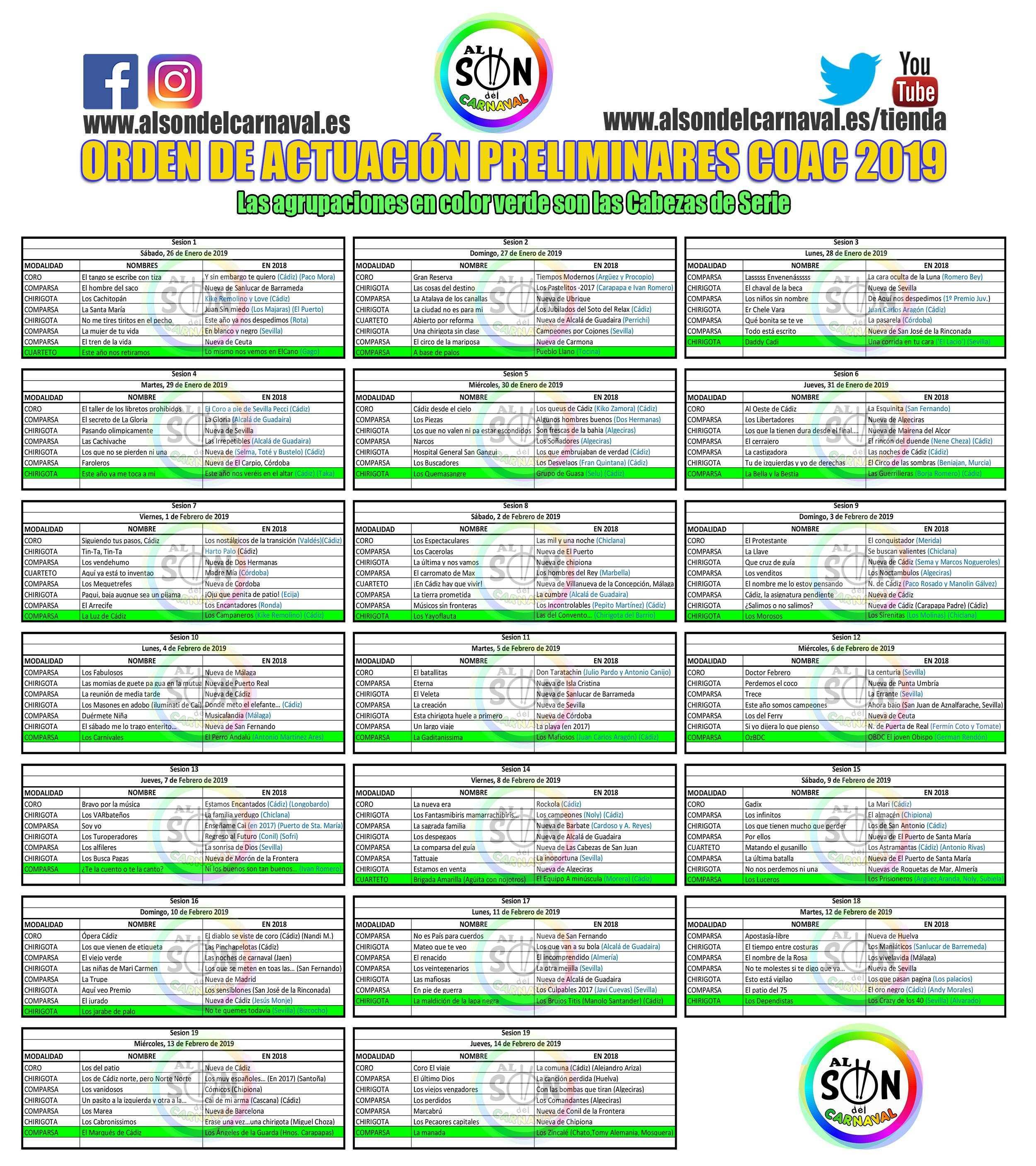 Calendario Coac 2019.Orden Actuacion Preliminares Coac 2019 Carnaval De Cadiz