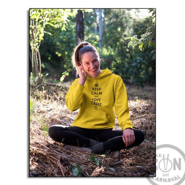 Sudadera Keep Calm and love cadiz amarilla con capucha