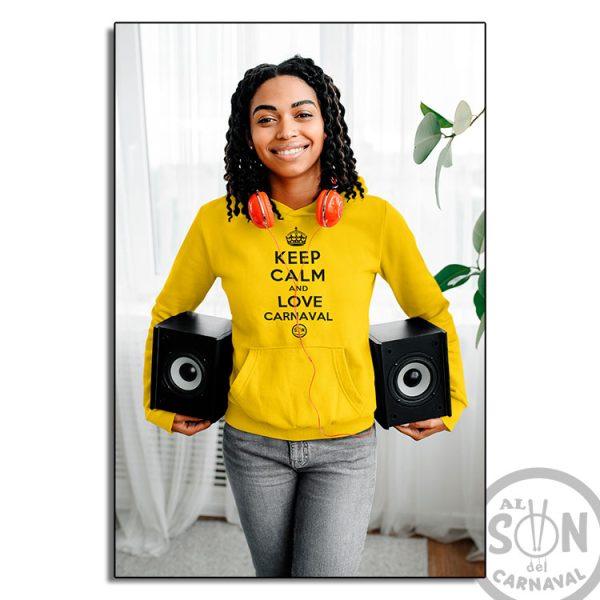 Sudadera Keep Calm and love carnaval amarilla con capucha