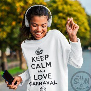 Sudadera Keep Calm and love carnaval blanca sin gorro