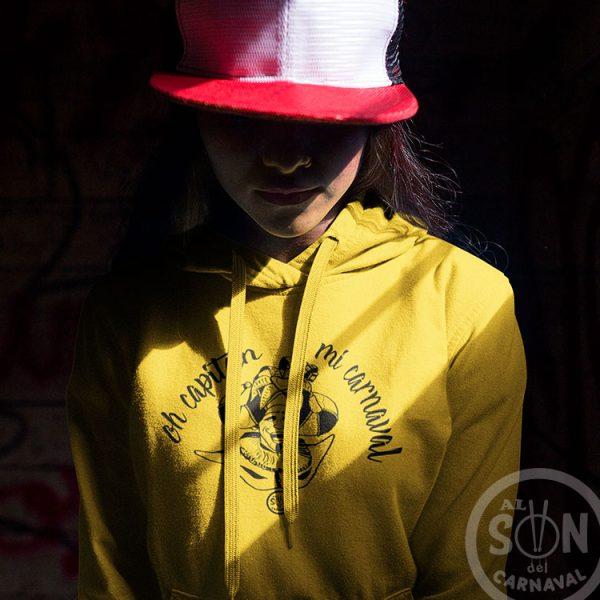 Sudadera oh capitan mi carnaval amarilla con capucha