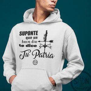 Sudadera_Suponte_que_un_buen_dia_te_dice_tu_patria_blanca_con_gorro