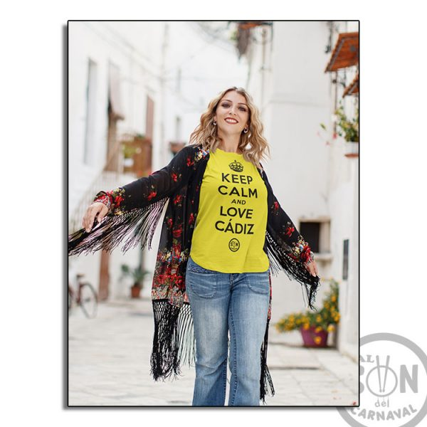 camiseta keep calm and love cadiz amarilla