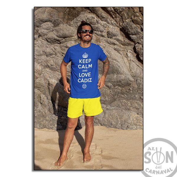 camiseta keep calm and love cadiz azul