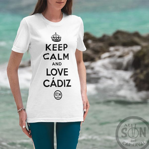 camiseta keep calm and love cadiz blanca