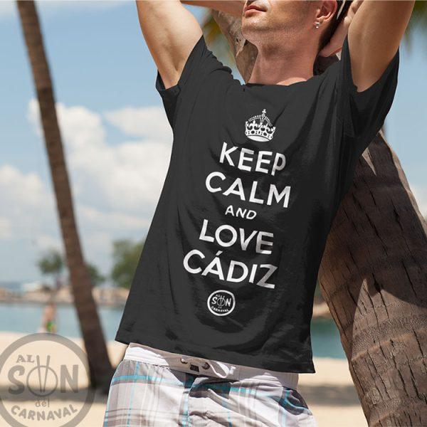 camiseta keep calm and love cadiz negra