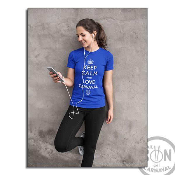 camiseta keep calm and love carnaval azul