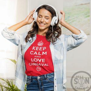 camiseta keep calm and love carnaval roja