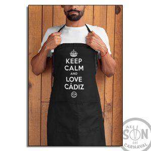 delantal keep calm and love cadiz negro
