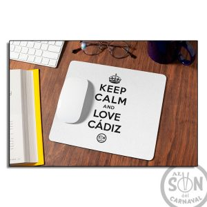 Alfombrilla Keep calm and love cádiz blanca