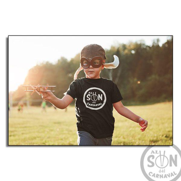 camiseta para niño Al son del carnaval - negra