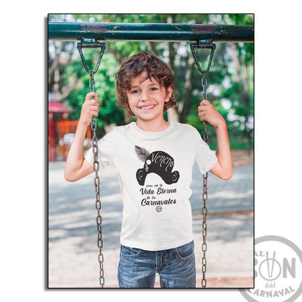 camiseta para niño capitan veneno - creo en la vida eterna de los carnavales blanca