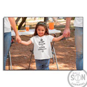 camiseta para niño keep calm and love carnaval - blanca