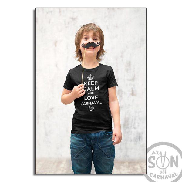 camiseta para niño keep calm and love carnaval - negra