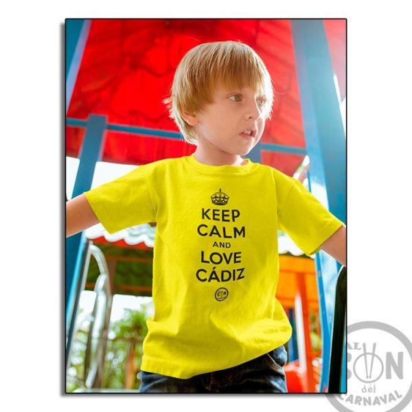 camiseta para niño keep clam and love cadiz - amarilla