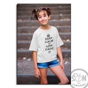camiseta para niño keep clam and love cadiz - blanca