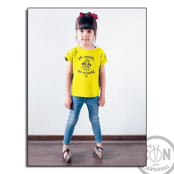 camiseta para niño oh captan mi carnaval - frase arriba y abajo - amarilla