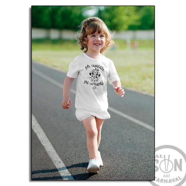 camiseta para niño oh captan mi carnaval - frase arriba y abajo - blanca