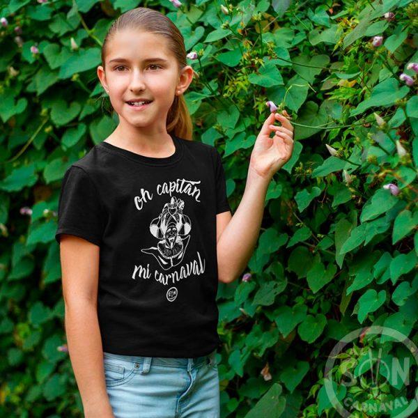 camiseta para niño oh captan mi carnaval - frase arriba y abajo - negra