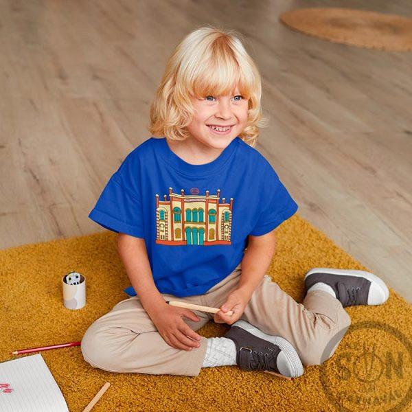 camiseta para niño teatro falla a todo color - azul