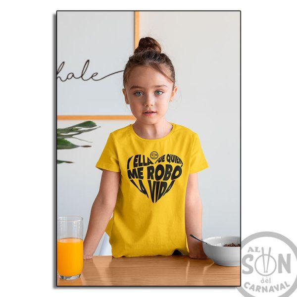 camiseta para niño y ella fue quien me robo la vida amarillo