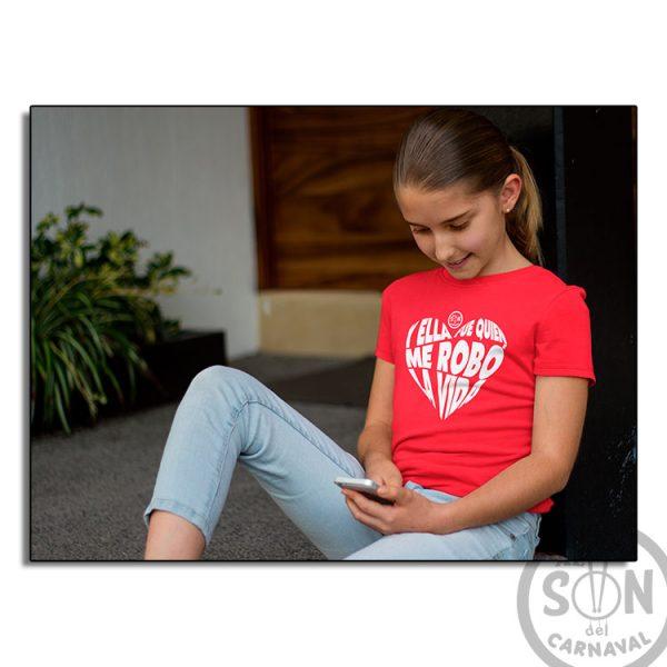 camiseta para niño y ella fue quien me robo la vida roja