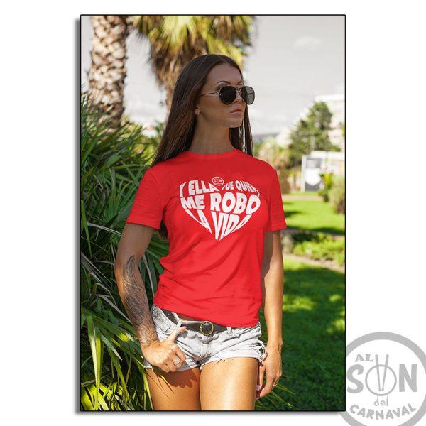 camiseta y ella fue quien me robó la vida - roja