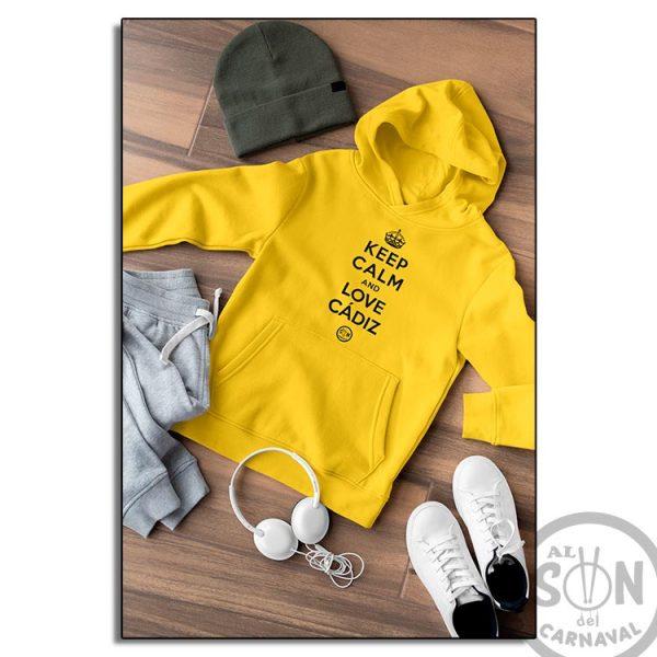sudadera para niño keep calm and love cadiz amarillo con gorro