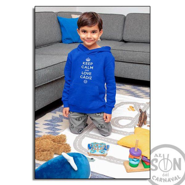 sudadera para niño keep calm and love cadiz azul con gorro