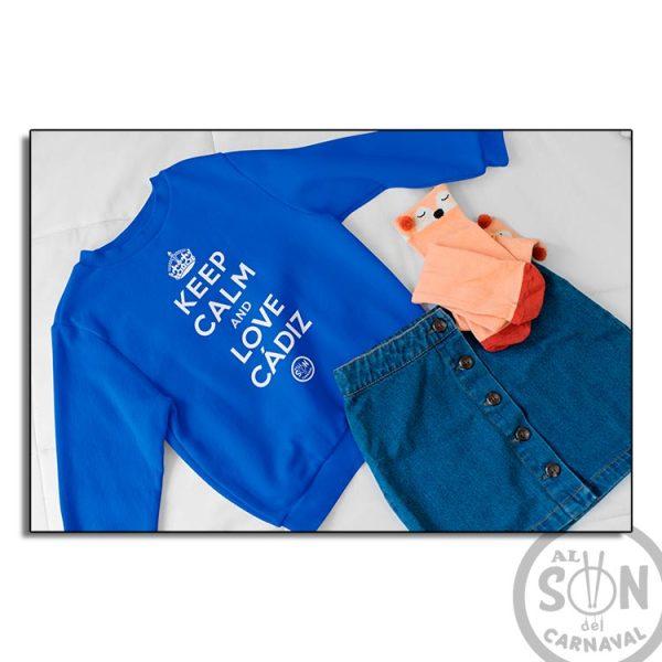 sudadera para niño keep calm and love cadiz azul sin gorro