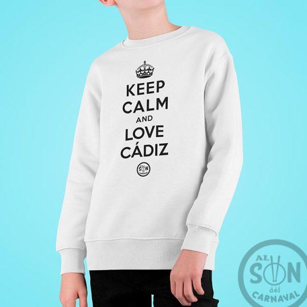 sudadera para niño keep calm and love cadiz blanca sin gorro