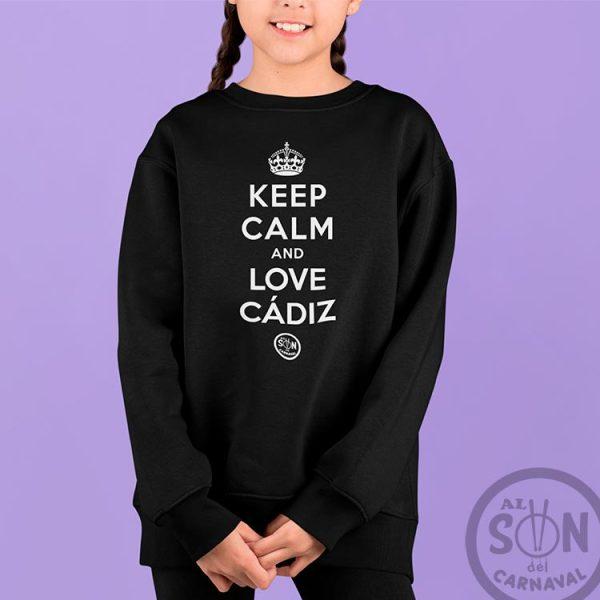 sudadera para niño keep calm and love cadiz negra sin gorro