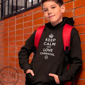 sudadera para niño keep calm and love carnaval negra con gorro