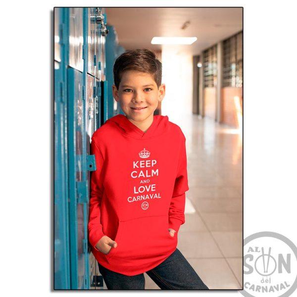sudadera para niño keep calm and love carnaval roja con gorro