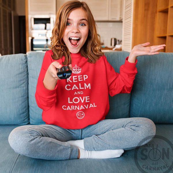 sudadera para niño keep calm and love carnaval roja sin gorro