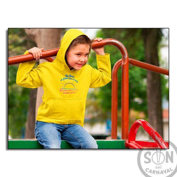 sudadera para niño que bonita es cadiz por la tarde amarilla con gorro