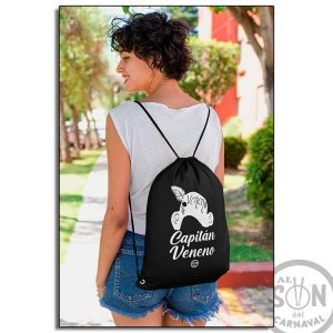mochila de saco capitan veneno - negro