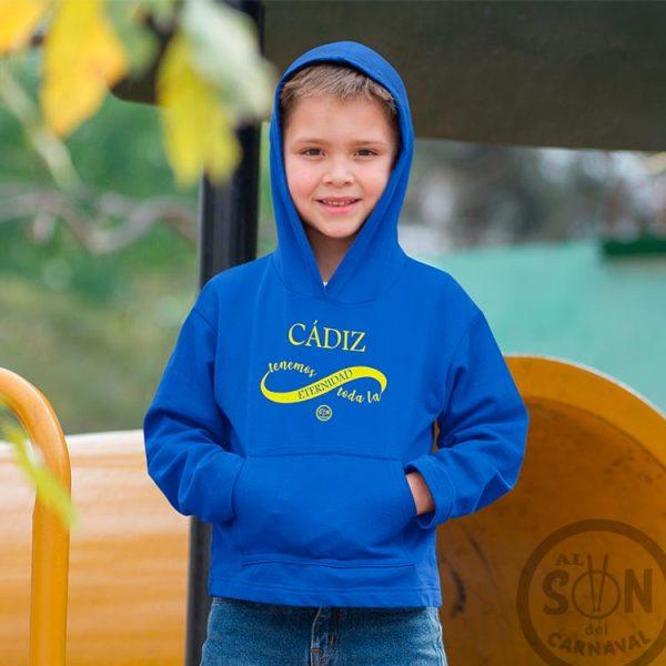 sudadera para niño cadiz tenemos toda la eternidad con capucha azul