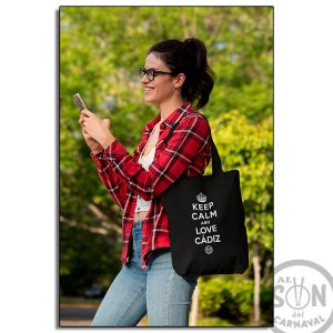tote bag keep calm and love cadiz negro