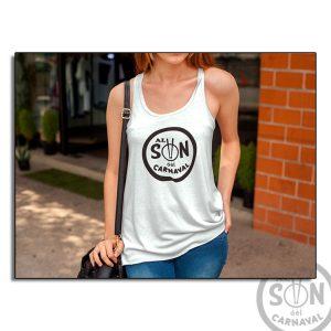 Camiseta Mujer Fashion al son del carnaval blanca