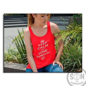 Camiseta Mujer Fashion keep calm and love carnaval roja