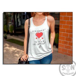 Camiseta Mujer Fashion yo me enamore de ti por culpa de los carnavales blanca