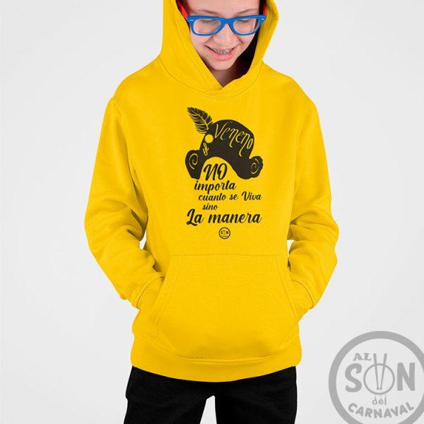 sudadera para niño no importa cuanto se viva sino la manera con gorro amarillo