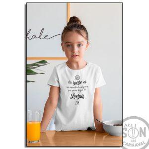 camiseta para niño la suerte es un invento blanca